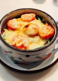 揚げなすとミニトマトのとろとろチーズ焼き