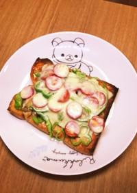豚コマ生姜焼きとミニトマトのピザトースト