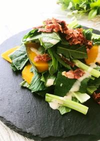 ベーコンと小松菜とかぼちゃのサラダ