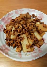 鶏挽肉と大根のオイスターケチャップ炒め