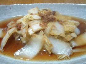 白菜とかつお節の煮物
