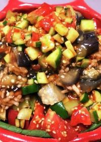 簡単 電子レンジ、鳥挽き肉と豆腐のサラダ
