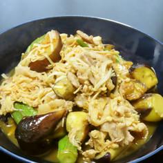 茄子とオクラとエノキと三枚肉のポン酢炒め