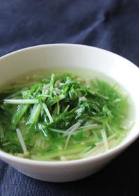 水菜とエノキのスープ