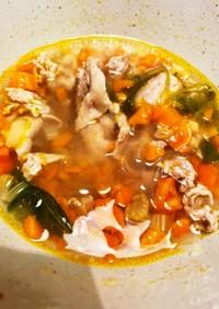 セロリと人参と豚肉のスープ
