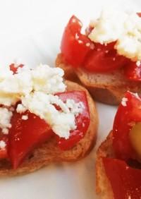 トマトとチーズの簡単ブルスケッタ
