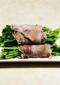豆苗の肉巻き (水菜や青梗菜でもOK)