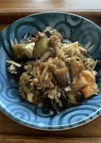 茄子と挽肉と豆腐の簡単炒め