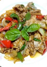 豚肉と野菜のガパオ炒め