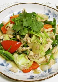 鶏挽肉と野菜のエスニック炒め