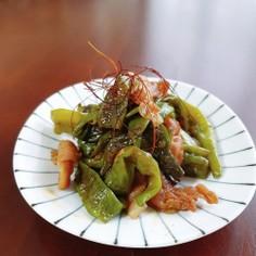 ししとうと豚肉のピリ甘辛炒め煮