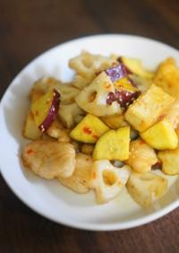 厚揚げと鶏胸肉、秋野菜のスイチリ炒め