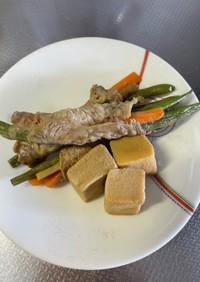 味付け簡単、三色野菜のくるくる肉巻き