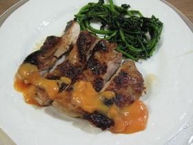 新米主婦の鶏肉のソテー 柿ソース