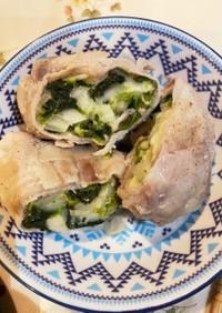 豚薄切り肉で野菜包み蒸し