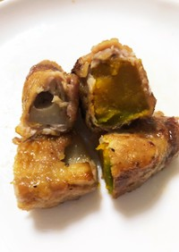 カボチャとレンコンの豚肉巻き