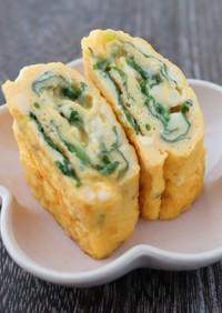 三つ葉とチーズのだし巻き卵