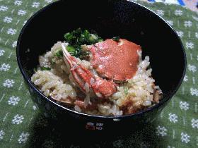 土鍋で蟹飯