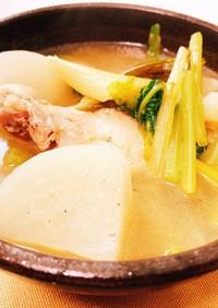 かぶと長ねぎの鶏手羽元スープ