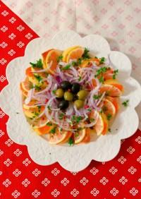 柿とスモークサーモンのカルパッチョ風