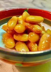 黒糖と芋焼酎で煮たインゲン豆のつまみ