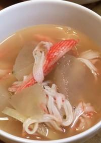 茅乃舎海老だしで☆冬瓜とカニカマのスープ