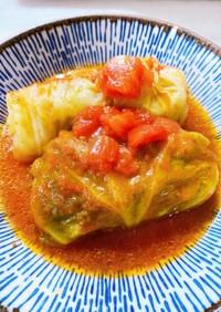 トマト缶で煮込んだ簡単ロールキャベツ