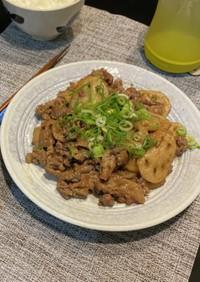 牛コマ肉と蓮根のピリ辛炒め