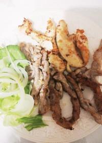 ささみと豚ロース薄切り肉の揚げ焼き