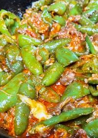 牛肉とハラペーニョのケチャップ炒め