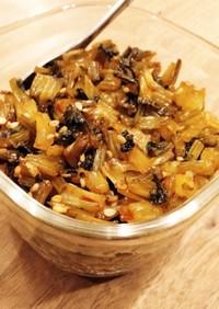 ごはんのおともカブの葉の甘豆板醤炒め