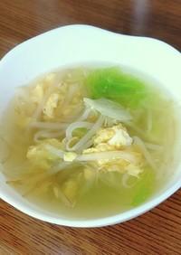 もやしとレタスのヘルシーかき玉スープ