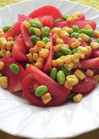 トマト枝豆コーンのめんつゆしょうがサラダ