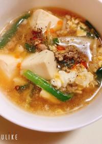 ニラもやしの酸辣湯風おかずスープ