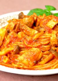 鶏肉ときのこのトマトスパゲティ