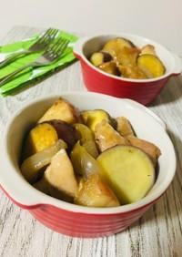 鶏肉とリンゴとサツマイモのグリル