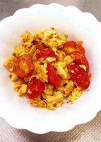 ミニトマトと卵の麺つゆバター炒め