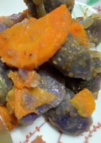 紫芋とニンジン、玉ねぎ、ベーコン炒め