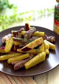 薩摩芋と牛肉のガーリックオイル炒め