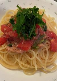 鯖缶とトマトのガーリック冷製パスタ