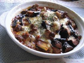 レバーと茄子のラグ-ソース、オーブン焼き