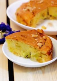 焦がしバターで作る、りんごとお芋のケーキ