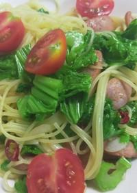 わさび菜とミニトマトのペペロンチーノ