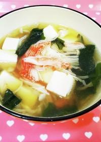 カニカマと豆腐の中華スープ