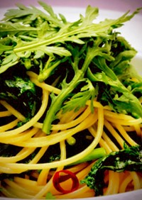 春菊(小松菜)&アンチョビのパスタ
