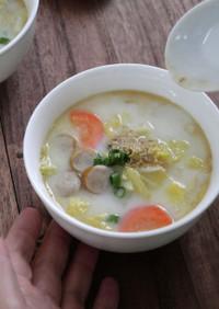 ウィンナーと白菜のちゃんぽん風スープ
