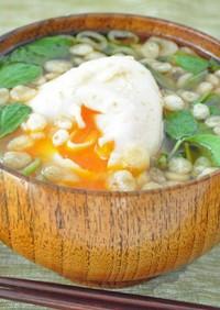 豆苗と半熟卵の味噌汁