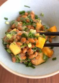柿と納豆の酢の物★簡単ダイエットメニュー