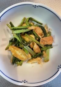 鶏ささ身とカブの葉の味噌炒め