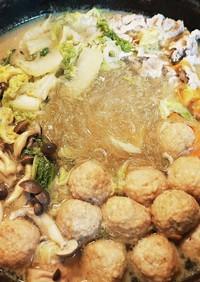 海鮮スープで肉団子と白菜のお鍋